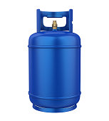 Blue Gas Cylinder isolated on white background. 3D render
