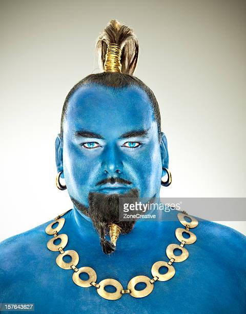 Blue genie out of the lamp front portrait