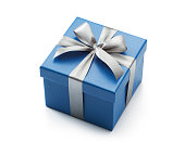 Blue gift box isolated on white background - Clipping path included