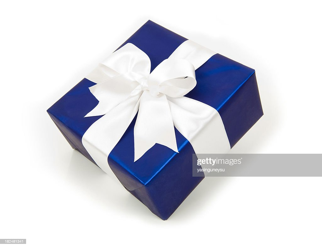 Blue gift box stock photo getty images