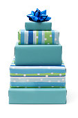 'Stack of blue gift boxes for birthday, Hanukkah, baby shower, Christmas or general enough for any occasion.'