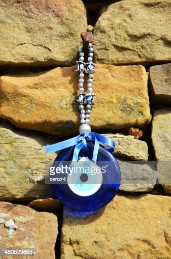 Blue glass evil eye, Amulet : Stock Photo