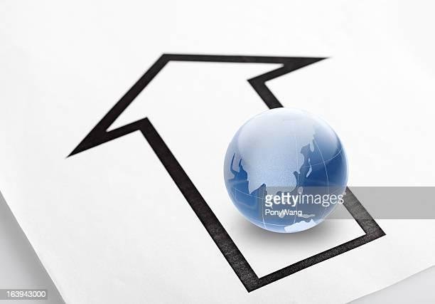 ブルーのガラスグローブと arrows (矢印)