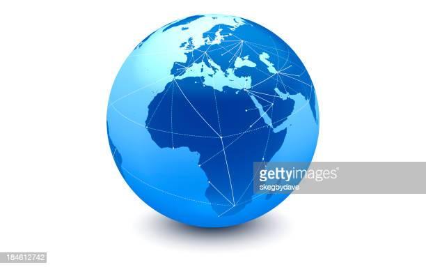 Bleu connexions dans le monde entier: Europe, Afrique, Moyen-Orient
