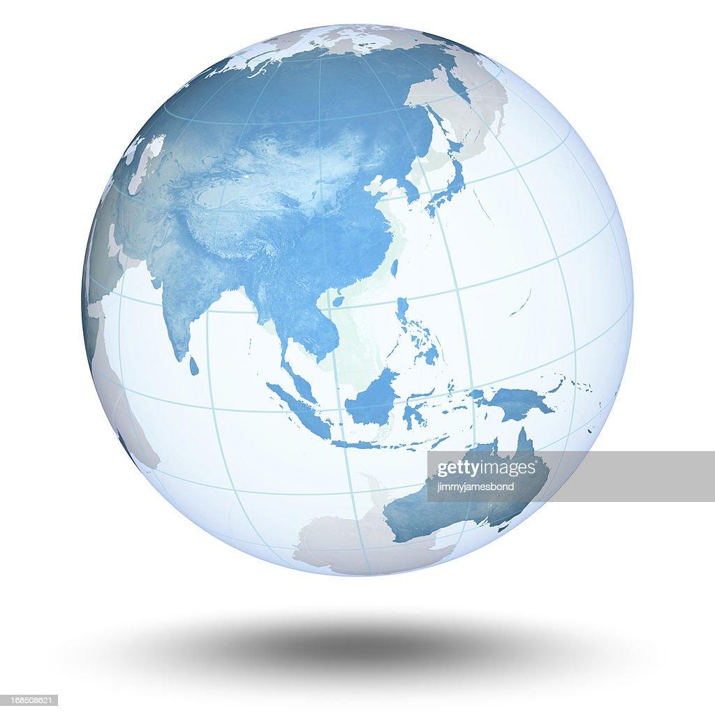 Blue Globe - Asian Eastern Hemisphere : Stock Photo