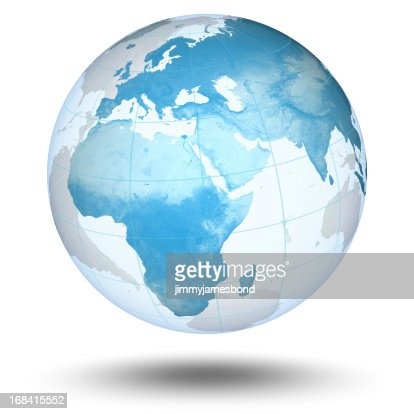 Blue Globe - European Eastern Hemisphere : Stock Photo