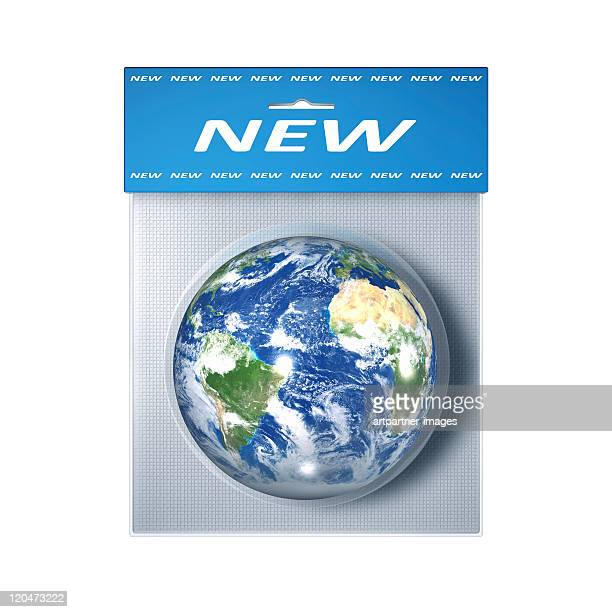 Blue Globe in a blister pack with label 'NEW'