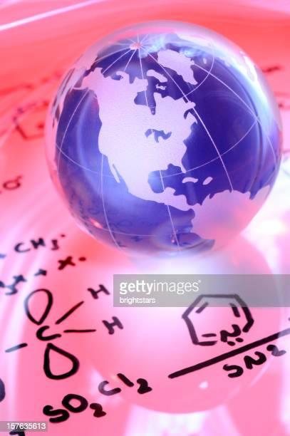 Blue globe on chemistry formulas