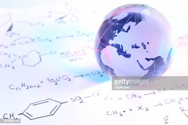Blue globe on chemistry formulas