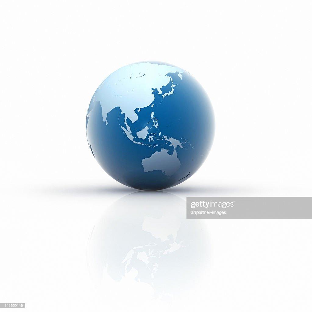 Blue Globe on white Background, Asia : Stock Photo