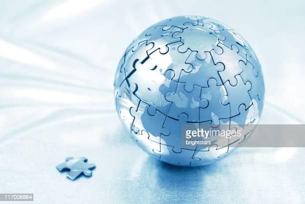 puzzle globe bleu