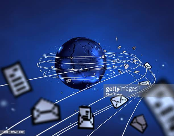 Blue globe with email icons circling