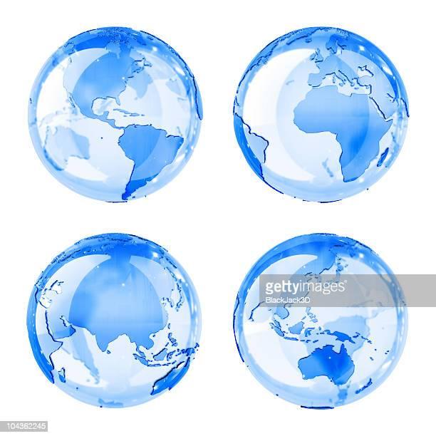 Bleu Globe brillant (4 poste