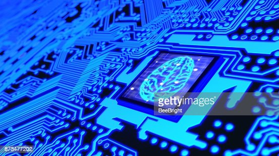 Blue glowing circuit board and a CPU with a brain symbol on top : Stock Photo