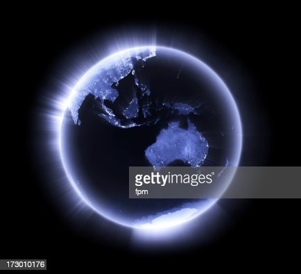 Blue glowing Earth [Australasia]