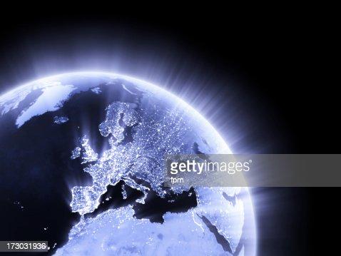 Blue glowing Earth crop [Europe]
