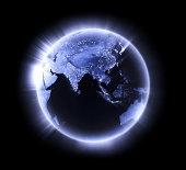 Blue glowing Earth [lower Asia]