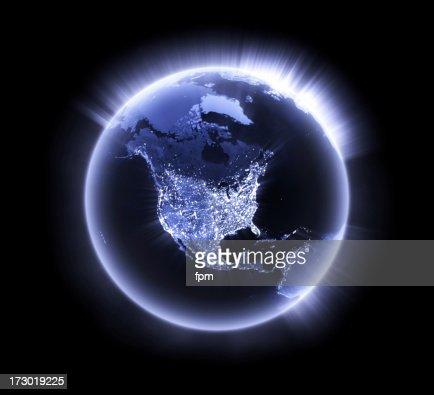 Blue glowing Earth [North America]
