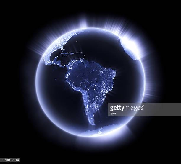 Blue glowing Earth [South America]