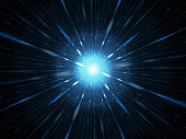 Blue glowing explosion in space, supernova or starburst, computer generated abstract background, 3D rendering