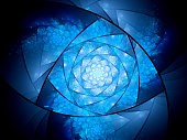 Blue glowing lazysusan shaped space mandala, computer generated abstract background