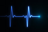 Blue glowing neon heart pulse graphic illustration