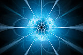 Blue glowing nuclear technology design, computer generated abstract background, 3D rendering