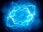 Blue glowing plasma lightning, computer generated abstract background, 3D rendering