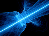Blue glowing quantum laser in space with rippled beam, computer generated abstract background, 3D rendering