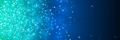 banner with sparkling blue glitter in front of a background in shades of blue with bokeh effect