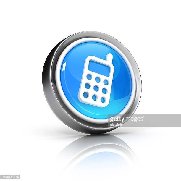 Blue graphic icon of a telephone representing communication