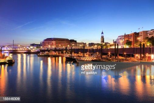 Blue Hamburg harbour