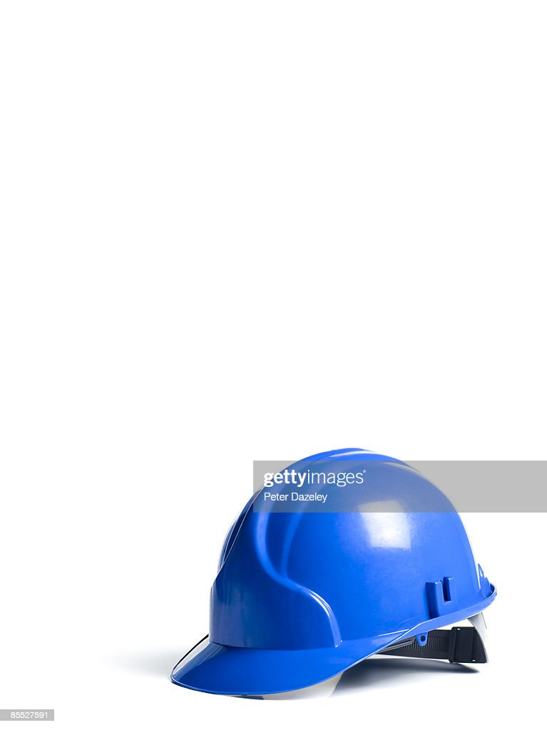 Blue hard hat on white background
