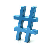Blue hashtags icon 3d illustration on white background