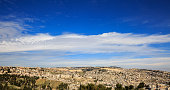 Blue heaven over panorama of old city Jerusalem