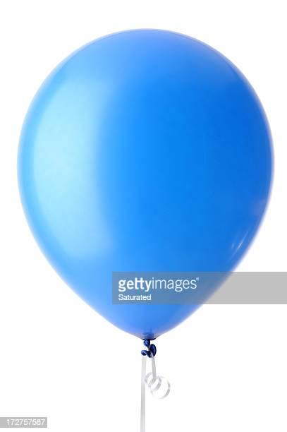Blue Helium Balloon Isolated against White Background