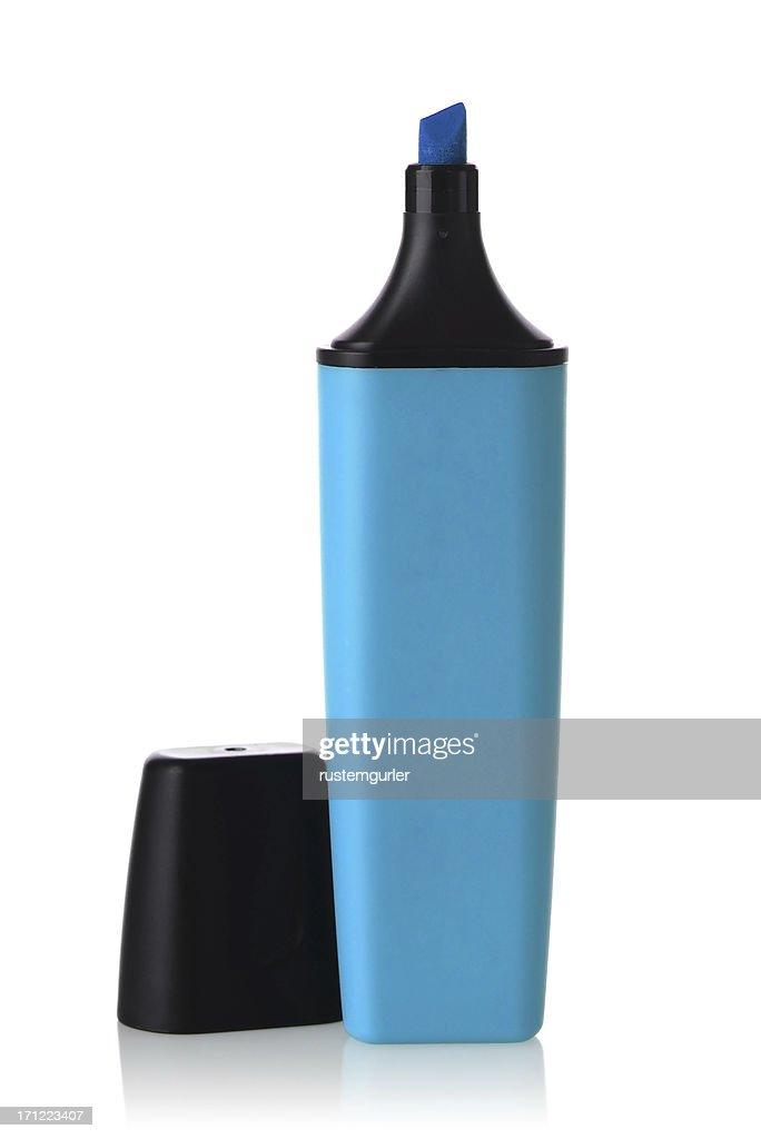A blue highlighter pen against white background