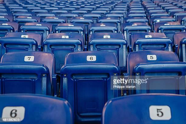 Blue hockey arena seats geometric pattern