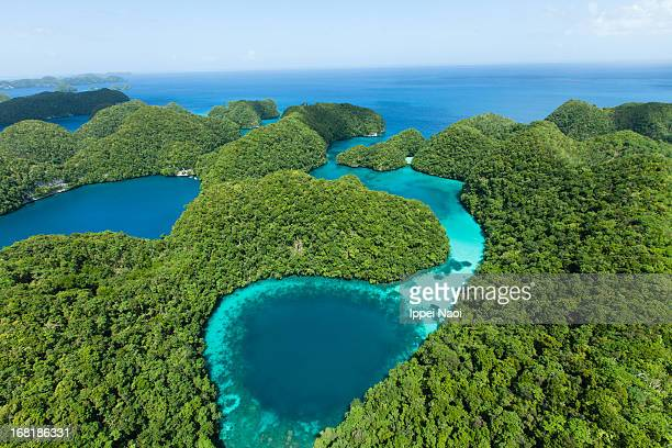 Blue hole and lush tropical rock islands, Palau