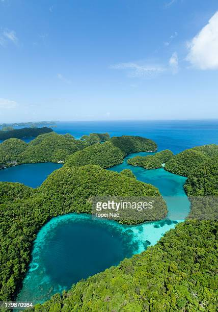 Blue hole lagoon and jungle from above, Palau