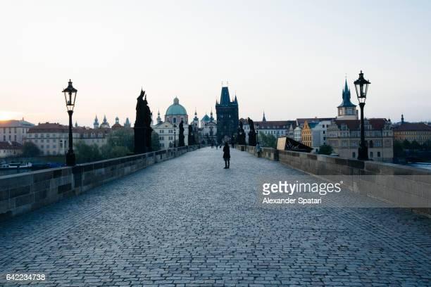 Blue hour at the empty Charles Bridge in Prague, Czech Republic