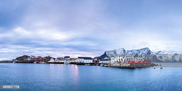 Blue hour, dusk, on the coast near Reine, Moskenes, Moskenesoy, Lofoten, Norway