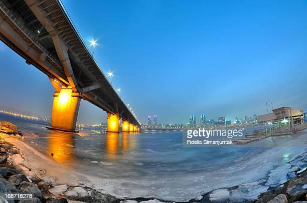 Blue hour of frozen Han river