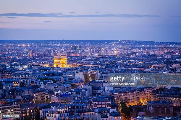 Blue hour over Paris with Arc de Triomphe