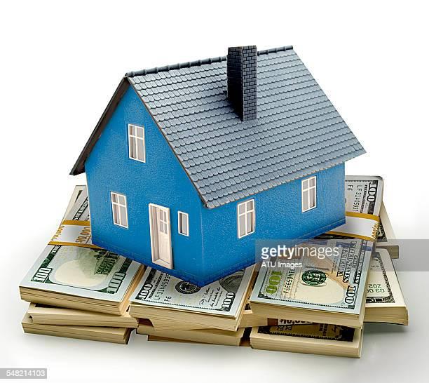 Blue house on bills