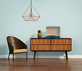 Rendering of a blue interior with mid century chair and buffet