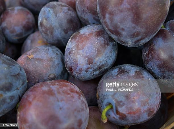 Blue Italian plums are seen for sale at a local 'Farmer's Market' August 7 in Oakton Virginia AFP Photo/Paul J Richards