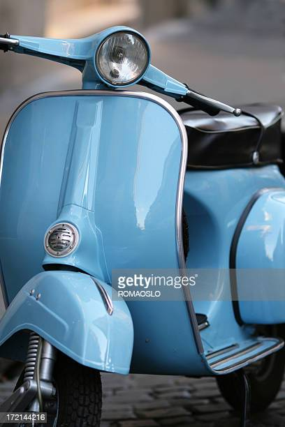 Blue Italian vintage scooter in Rome, Italy