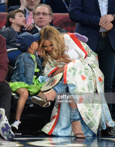 Blue Ivy Carter and Beyonce Knowles attend the 66th NBA AllStar Game at Smoothie King Center on February 19 2017 in New Orleans Louisiana