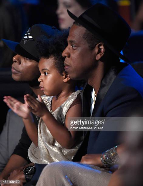Blue Ivy Carter and Jay Z in the audience watching Beyonce perform during the 2014 MTV Video Music Awards at The Forum on August 24 2014 in Inglewood...